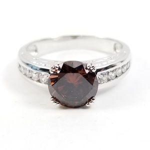 Diamonique Chocolate Platinum & Sterling Ring